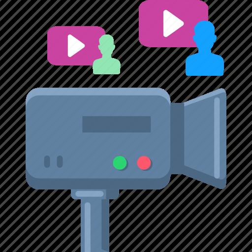 communication, media, multimedia, social, video, video marketing icon