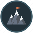 achievement, aim, exploring, implementing, leader, leadership, mountain icon