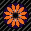 color, flower, indian, logo, mandala, orient, yoga icon
