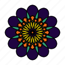 color, flower, hindu, indian, mandala, orient, yoga icon