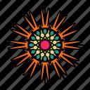 color, flower, indian, mandala, orient, star, yoga icon