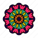 color, flower, logo, mandala, orient, yoga, zen icon