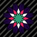 color, flower, indian, mandala, orient, yoga, zen icon
