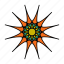 color, flower, mandala, orient, star, yoga, zen icon