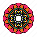 color, flower, indian, logo, mandala, orient, yoga icon