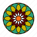 color, flower, indian, mandala, orient, yoga, zen icon