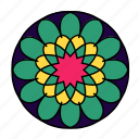 color, flower, hindu, indian, mandala, yoga, zen icon