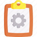 data, document, gear, setting, settings