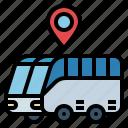 bus, location, map, pin, road, transport, transportation