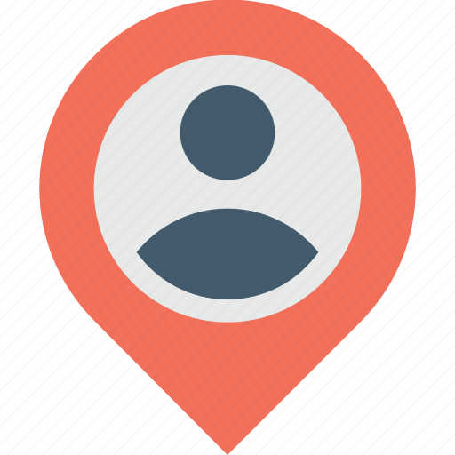location, map, navigation, pin, user icon