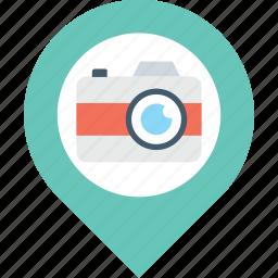 location, marker, navigation, photo, photography icon