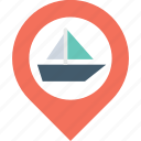 boat, geo, navigation, place, pointer icon