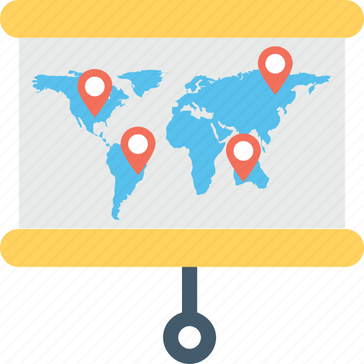flipchart, map board, map pins, presentation, projection screen icon