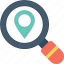 location finder, magnifying, map finder, map marker, search location icon