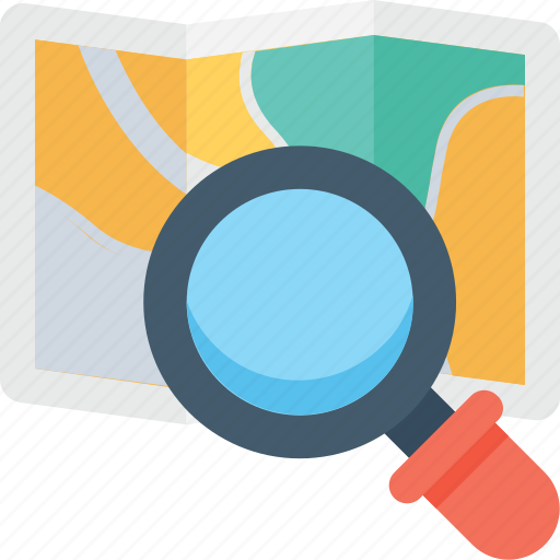 find place, gps, magnifier, map exploring, search map icon