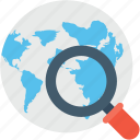 find area, globe, internet, search location, magnifier