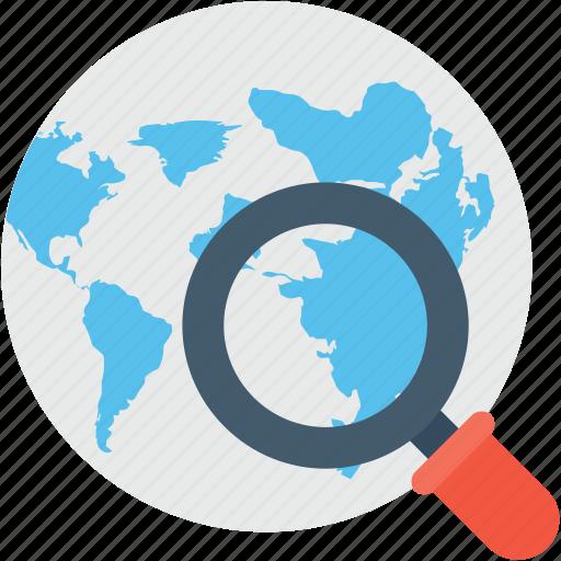 find area, globe, internet, magnifier, search location icon