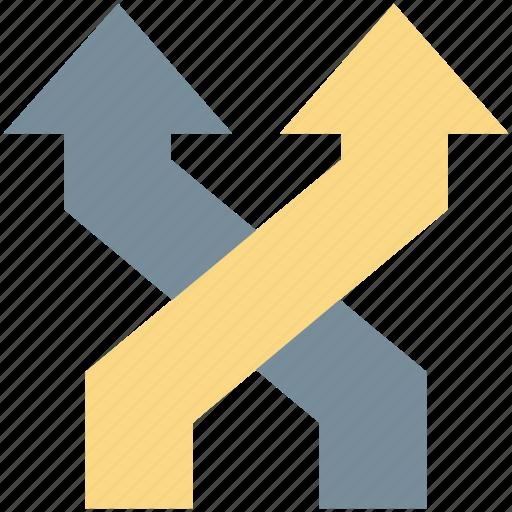 arrow fork, arrows, bifurcation arrow, navigational arrow, two way arrow icon