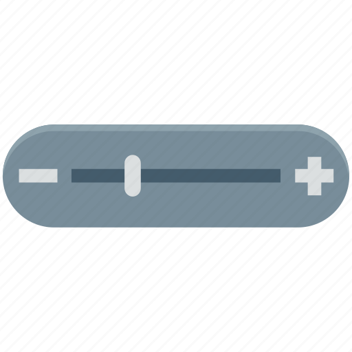 adjustment volume, horizontal adjuster, level bar, volume bar, volume level, volume symbol icon