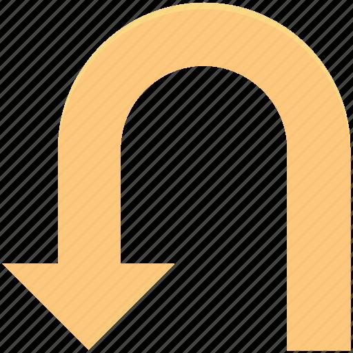 arrow, directional arrow, navigation symbol, turn down icon