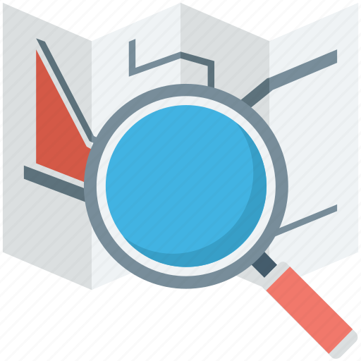 find place, magnifier, map exploring, search map, unfolded map icon
