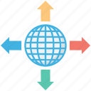 arrows, four directions, globe grid, traveling concept, world