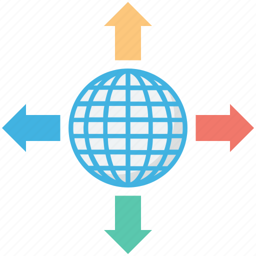 arrows, four directions, globe grid, traveling concept, world icon