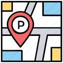 map pointer, parking area, parking location, parking lot, parking nearby icon