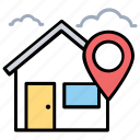 home address finder, housing area, residential area, location map pin, home location icon
