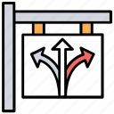 road arrows, road directions, road sign, signage, traffic sign icon