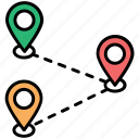 destinations, gps navigation, locations, map pointers, travel route icon