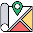 address navigator, location map, location pointer, map and destination, map locationing icon