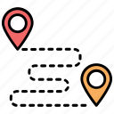 location pins, location pointers, road map, route, travel distance icon