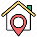 home address finder, home location, housing area, location map pin, residential area icon