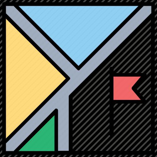 destination, flag pole, location flag, navigation, orienteering icon
