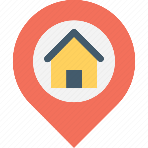 home location, house, map, navigation, pin icon
