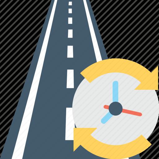 deadline, duration, road icon
