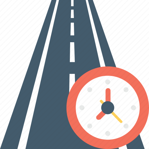 clock, highway, journey, road, travel time icon