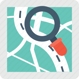 find place, magnifier, map, map exploring, search map icon