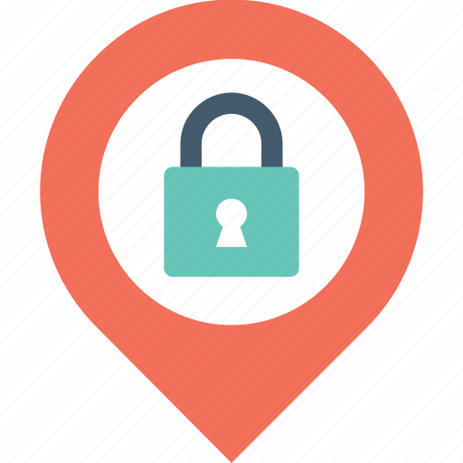 location pin, lock, map lock, map pin, security icon