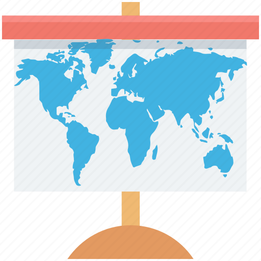 flipchart, presentation, projection screen, whiteboard, world map icon