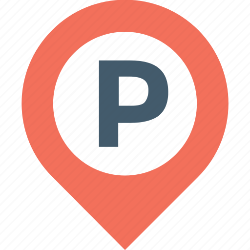 map pin, park area, parking, pin, road sign icon