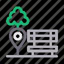 bench, garden, location, park, tree icon