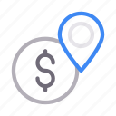 dollar, location, map, marker, pin icon