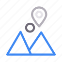 gps, hills, location, mountains, pin icon