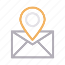 inbox, location, message, navigation, pin