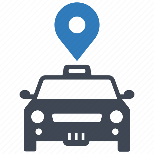 location, pointer, taxi icon