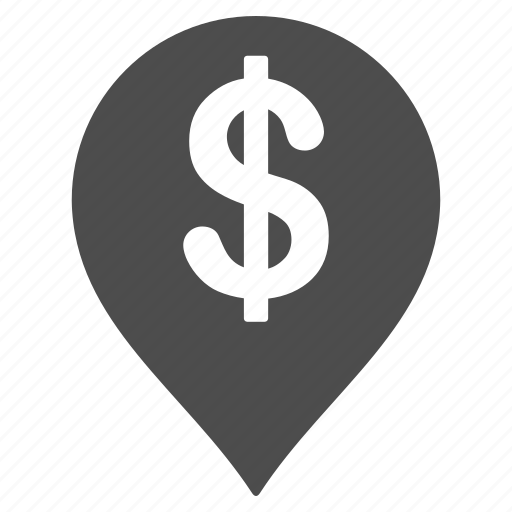 american dollar, bank pointer, business, commercial zone, financial center, map marker, money icon