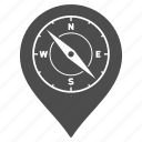 compass, direction, gps location, map marker, navigation, pin, pointer icon
