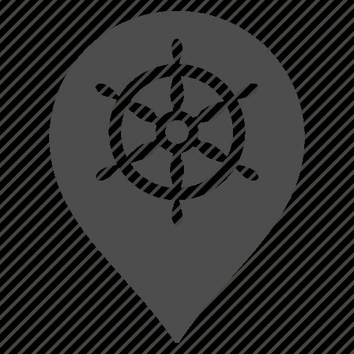boat sailing, map marker, marine position, navigation, sea port, ship wheel, shipping icon